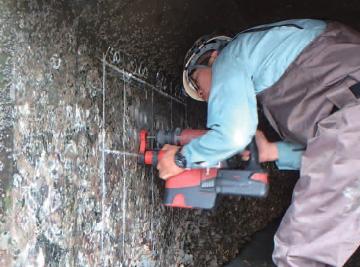 ドリルによるコンクリート粉末試料採取